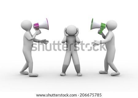 3d illustration of two person shouting and yelling through megaphone to another man. 3d human person character and white people