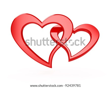 3d illustration of two red hearts isolated on white - stock photo