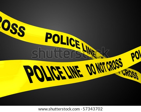3d illustration of two ribbons with text 'police line' over dark background