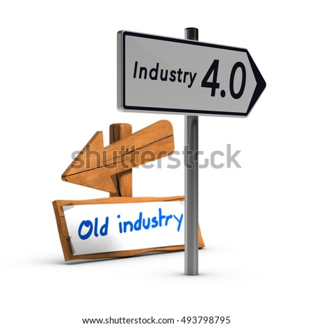 3D illustration of two road signs with the text industry 4.0 and old industry over white background
