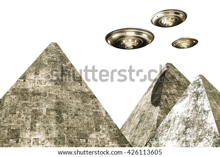 3d illustration of ufo over pyramids - stock photo