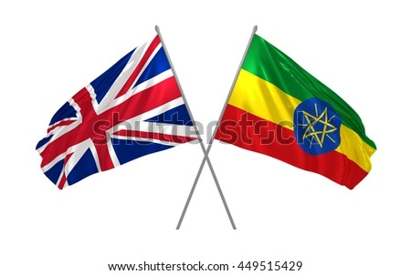 3d illustration of UK and Ethiopia flags together waving in the wind - stock photo