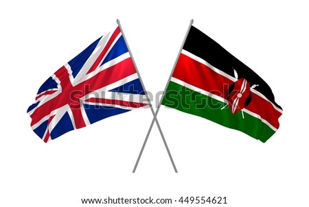 3d illustration of UK and Kenya flags together waving in the wind - stock photo