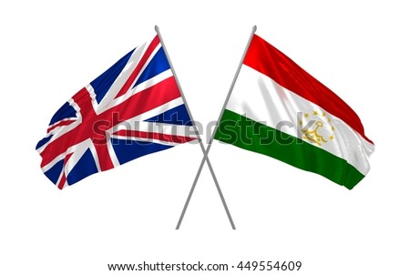 3d illustration of UK and Tajikistan flags together waving in the wind
