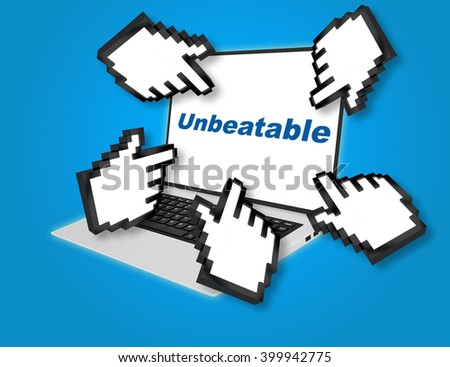 """3D illustration of """"Unbeatable"""" script with pointing hand icons pointing at the laptop screen from all sides. - stock photo"""