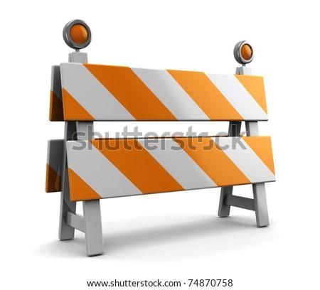3d illustration of under construction barrier - stock photo