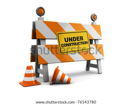 3d illustration of under construction barrier with road cones - stock photo