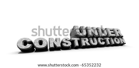 3d illustration of under construction sign - stock photo
