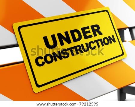 3d illustration of under construction sign closeup - stock photo