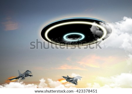 3d illustration of unidentified flying object engaged by military forces - stock photo