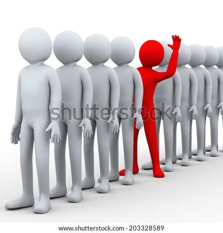 3d illustration of unique red person stepping out from row of people.  3d rendering of human people character. - stock photo