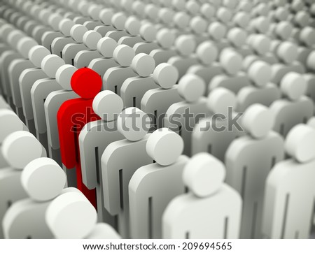 3d illustration of unique special man standing out of crowd - stock photo