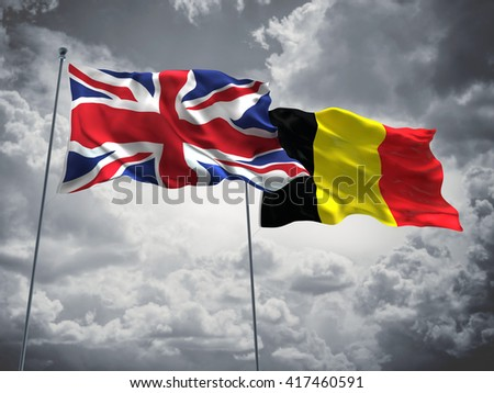 3D illustration of United Kingdom & Belgium Flags are waving in the sky with dark clouds