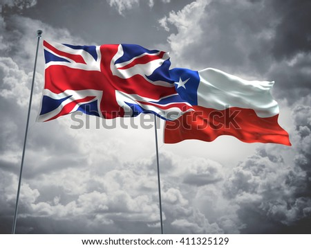 3D illustration of United Kingdom & Chile Flags are waving in the sky with dark clouds