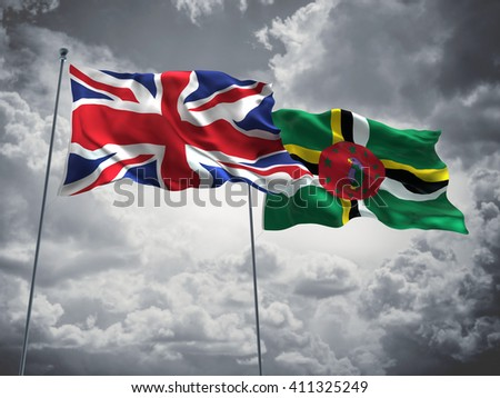 3D illustration of United Kingdom & Dominica Flags are waving in the sky with dark clouds