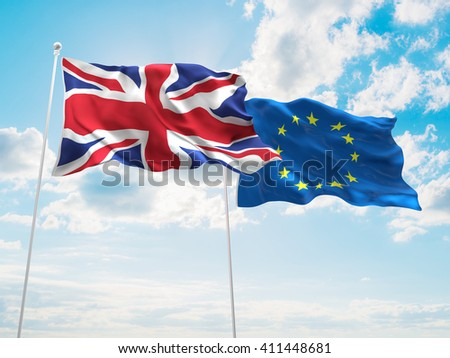 3D illustration of United Kingdom & Europe Union Flags are waving in the sky - stock photo