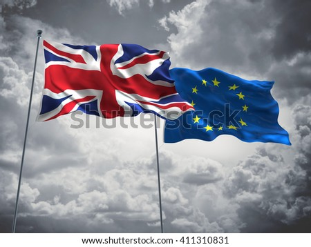 3D illustration of United Kingdom & Europe Union Flags are waving in the sky with dark clouds  - stock photo