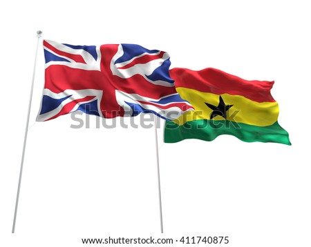 3D illustration of United Kingdom & Ghana Flags are waving on the isolated white background
