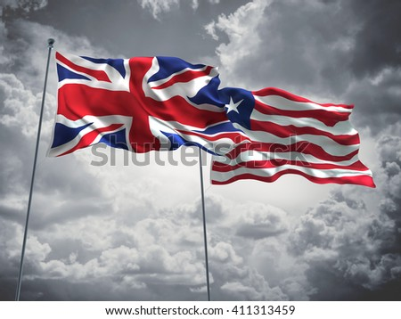 3D illustration of United Kingdom & Liberia Flags are waving in the sky with dark clouds