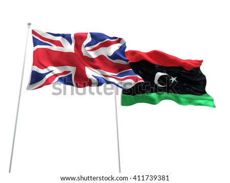 3D illustration of United Kingdom & Libya Flags are waving on the isolated white background - stock photo