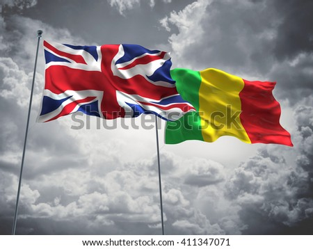 3D illustration of United Kingdom & Mali Flags are waving in the sky with dark clouds
