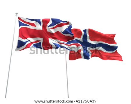 3D illustration of United Kingdom & Norway Flags are waving on the isolated white background - stock photo