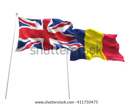 3D illustration of United Kingdom & Romania Flags are waving on the isolated white background