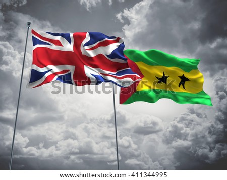 3D illustration of United Kingdom & Sao Tome and Principe Flags are waving in the sky with dark clouds