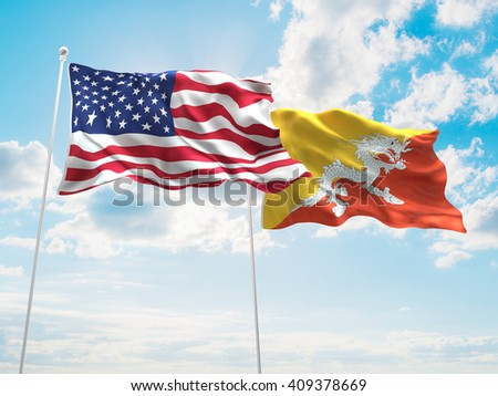 3D illustration of United States of America & Bhutan Flags are waving in the sky