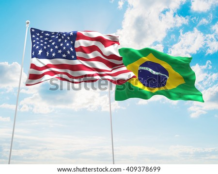3D illustration of United States of America & Brazil Flags are waving in the sky - stock photo