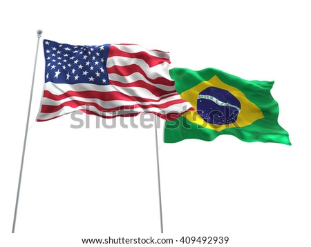 3D illustration of United States of America & Brazil Flags are waving on the isolated white background - stock photo