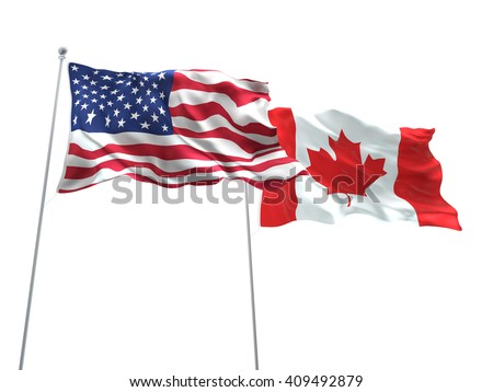 3D illustration of United States of America & Canada Flags are waving on the isolated white background - stock photo