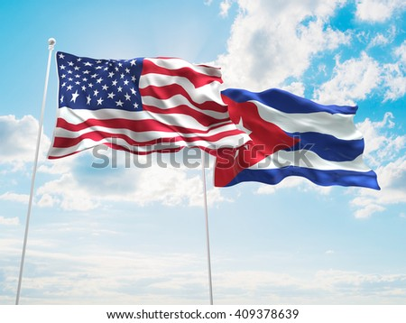 3D illustration of United States of America & Cuba Flags are waving in the sky
