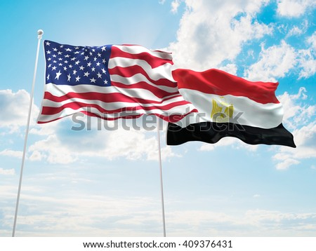 3D illustration of United States of America & Egypt Flags are waving in the sky