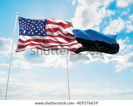 3D illustration of United States of America & Estonia Flags are waving in the sky