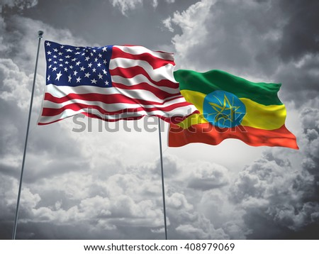 3D illustration of United States of America & Ethiopia Flags are waving in the sky with dark clouds  - stock photo