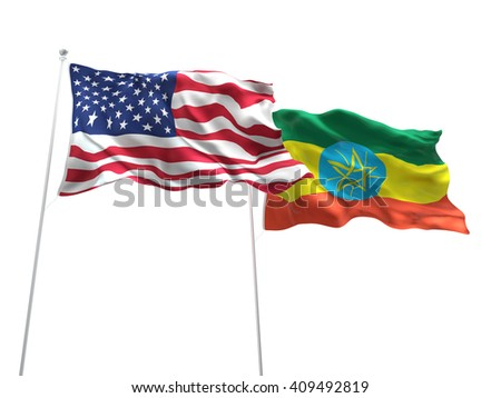 3D illustration of United States of America & Ethiopia Flags are waving on the isolated white background - stock photo