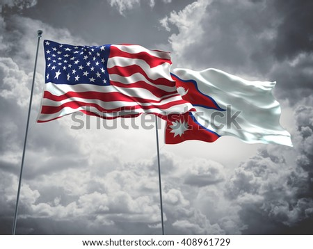 3D illustration of United States of America & Nepal Flags are waving in the sky with dark clouds  - stock photo