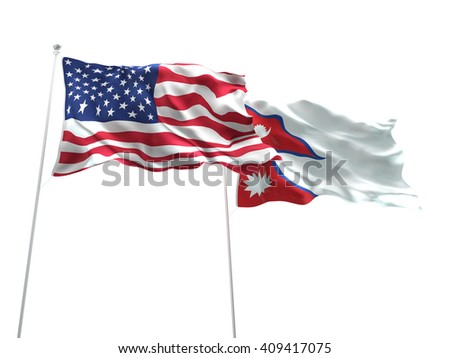 3D illustration of United States of America & Nepal Flags are waving on the isolated white background - stock photo