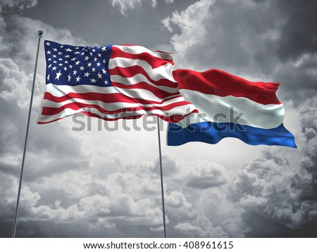 3D illustration of United States of America & Netherlands Flags are waving in the sky with dark clouds