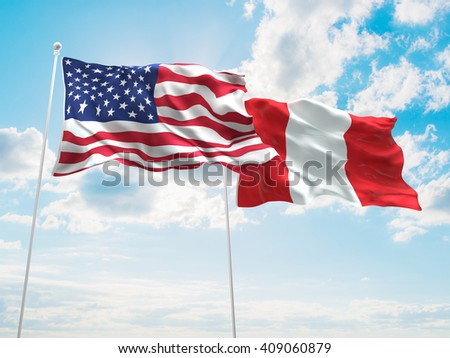 3D illustration of United States of America & Peru Flags are waving in the sky - stock photo