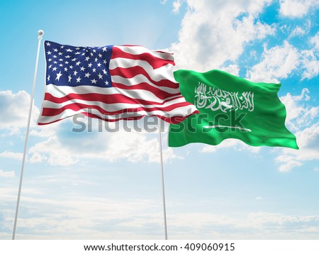 3D illustration of United States of America & Saudi Arabia Flags are waving in the sky - stock photo