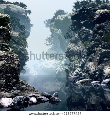 3D Illustration of unspoiled landscape  a lake  with various rock formations and vast vegetation in an atmosphere with a lot of fog. - stock photo