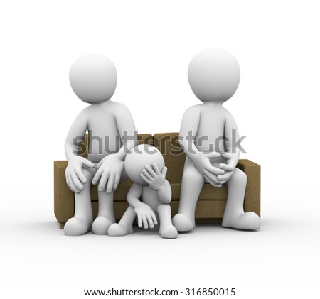 3d illustration of upset child, angry couple sitting on sofa. family problem, people conflict dispute - stock photo