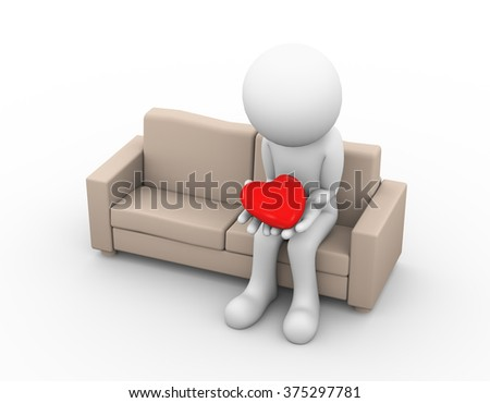 3d illustration of upset sad loser lover sitting on sofa and holding heart in his hand. - stock photo