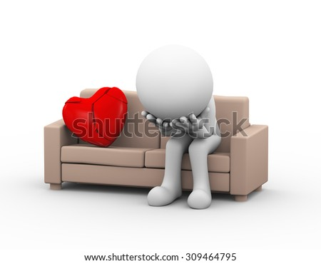 3d illustration of upset sad loser lover sitting on sofa near cracked broken heart. 3d white person people man - stock photo