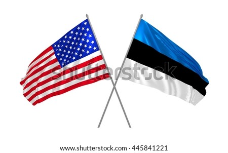 3d illustration of USA and Estonia flags waving in the wind
