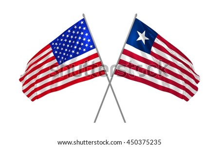 3d illustration of USA and Liberia flags together waving in the wind