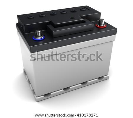 3d illustration of 12v car battery over white background - stock photo