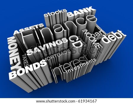 3D illustration of various financial words - stock photo